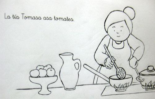 La tía Tomasa asa tomates.